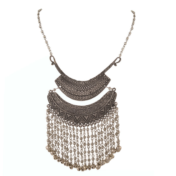 Fashion Oxidized Silver Turkish Bib Choker Beaded Necklace For Women