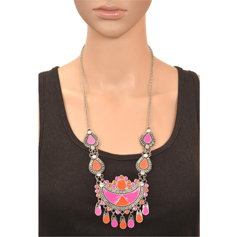 Fashion German Silver Afghani Pendant Necklace With Enamel Work Women