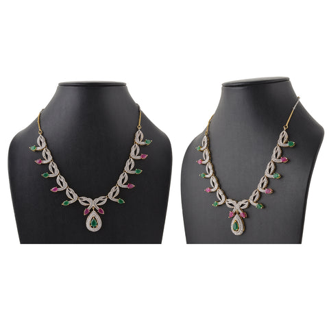 Fashion Necklace Earrings Set Handmade American Diamonds Party Wear - StompMarket