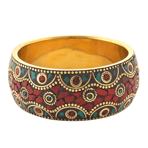 Fashion Junk Tibetan Gold Tone Bangle With Inlay Work For Women - StompMarket