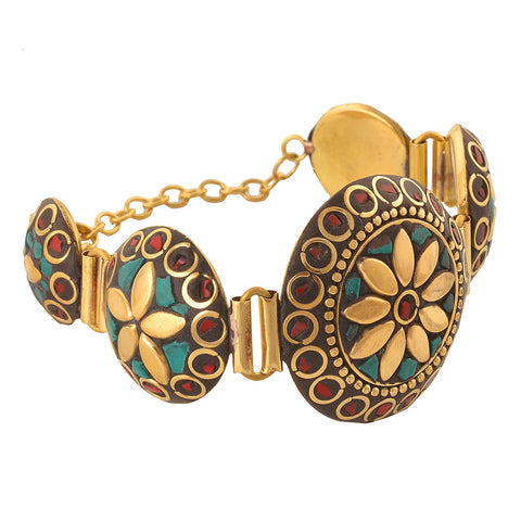 Fashion Tibetan Gold Tone Hand Bracelet With Inlay Work For Girls
