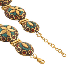 Fashion Tibetan Gold Tone Hand Bracelet With Inlay Work For Girls - StompMarket