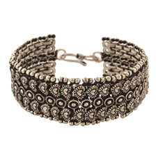 Fashion Oxidized Silver Hand Bracelet Free Size For Girls - StompMarket