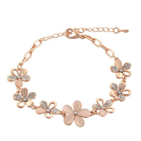 Fashion Designer Floral Hand Bracelet With Zircons