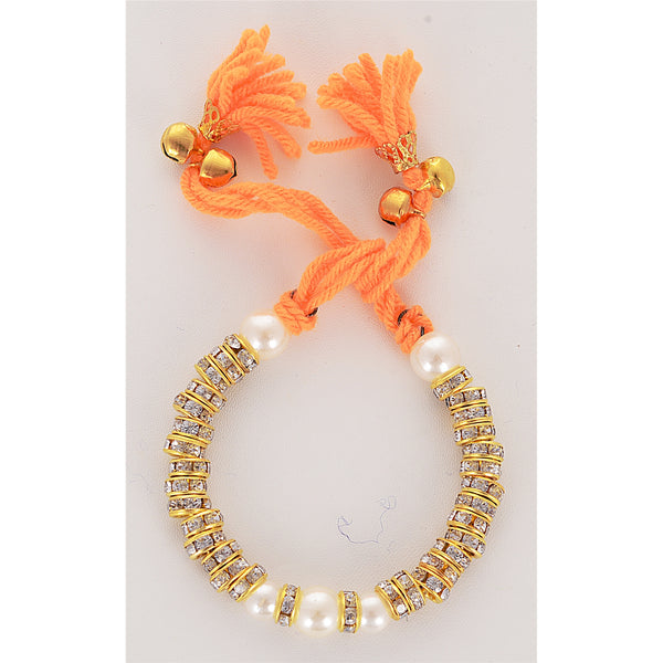 Fashion Golden Bracelet Pearls Stones Handmade Adjustable Free Size Orange