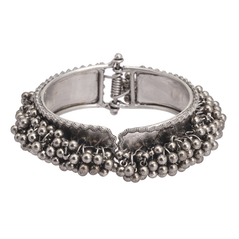 Zephyrr Fashion German Silver Beaded Bangle Bracelet