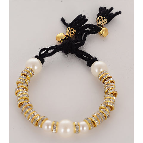 Fashion Golden Bracelet Pearls Stones Handmade Adjustable Free Size Orange - StompMarket