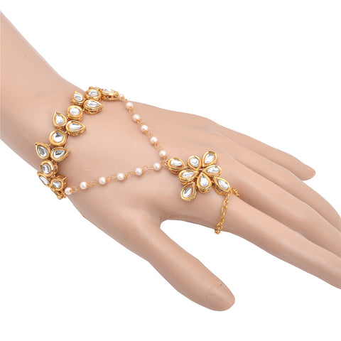 Zephyrr Fashion Gold Tone Kundan And Pearl Trendy Ring Bracelet