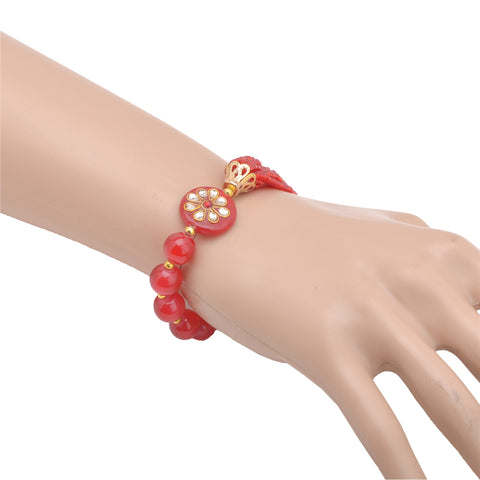 Zephyrr Fashion Beaded Kundan Hand Bracelet