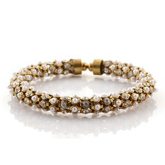 Fashion Gold Bracelet Handmade With Zircons Pearls Adjustable Free Size - StompMarket