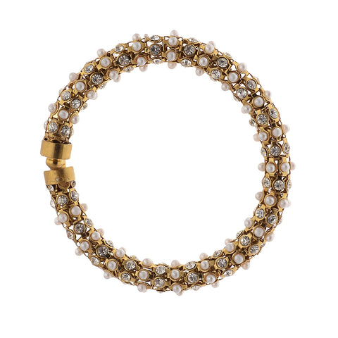 Fashion Gold Bracelet Handmade With Zircons Pearls Adjustable Free Size