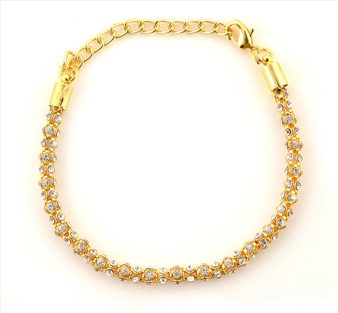 Fashion Golden Tone Bracelet With Zircons For Women - StompMarket