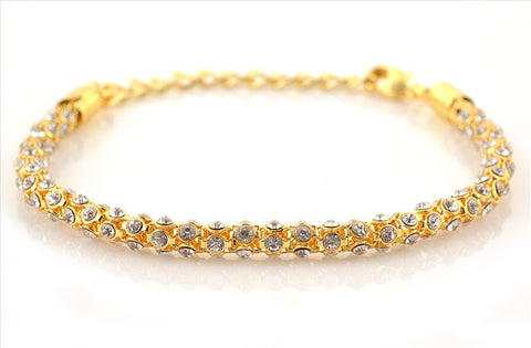 Fashion Golden Tone Bracelet With Zircons For Women