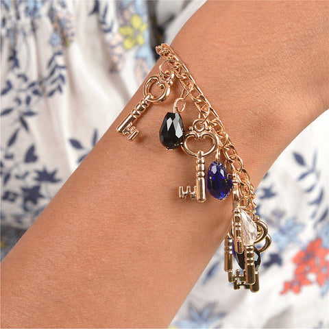 Fashion Handmade Hand Beaded Bracelet With Key Charms - StompMarket