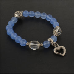 Fashion Handmade Hand Beaded Stretchable Bracelet With Heart Charms - StompMarket