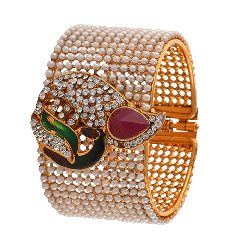 Fashion Pearl White Peacock Bangle For Women/Girls With Zircons - StompMarket