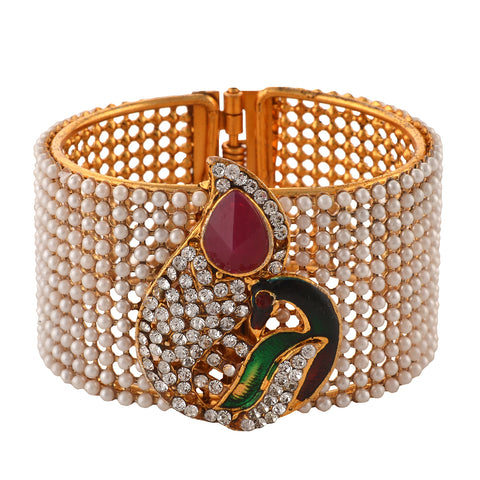 Fashion Pearl White Peacock Bangle For Women/Girls With Zircons