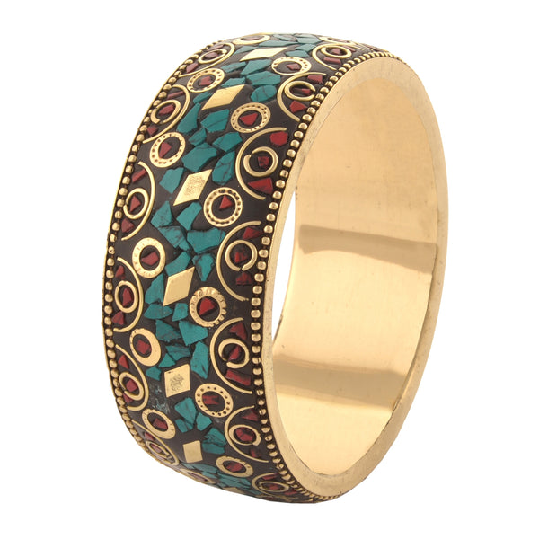 Fashion Junk Tibetan Gold Tone Bangle With Inlay Work For Women