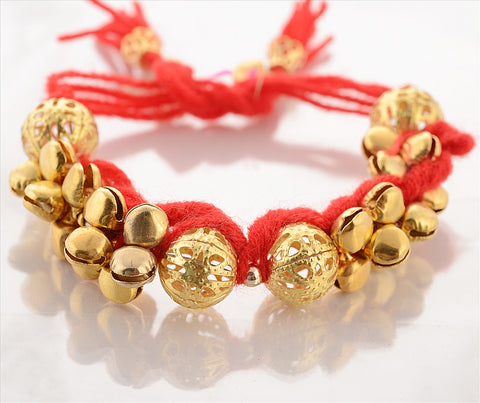 Fashion Golden Full Ghungroo Bracelet Handmade Adjustable Free Size Purple - StompMarket