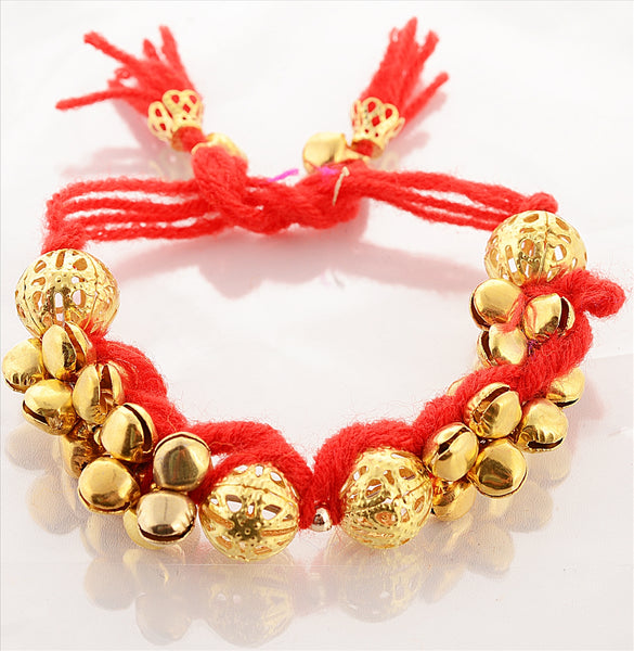 Fashion Golden Full Ghungroo Bracelet Handmade Adjustable Free Size Purple