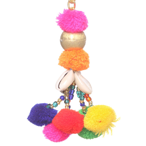 Key Ring Key Chain Fashion Purse Accessory Tassels With Shells Pom Poms - StompMarket