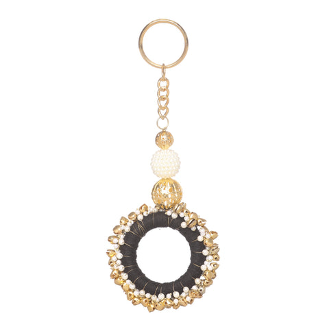 Fancy Key Ring Key Chain Fashion Purse Accessory Tassels With Pearl Beads.