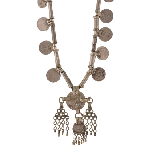 Antique Vintage 1950s Coin Handmade Necklace Made By Banjara Tribals - StompMarket