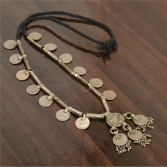 Antique Vintage 1900s Coin Handmade Necklace Made By Banjara Tribals - StompMarket