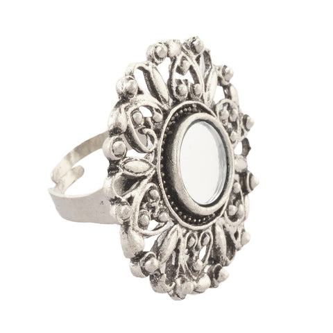 Zephyrr Fashion Adjustable Round Ring with Carved Design Mirror