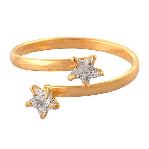 Zephyrr Fashion Gold Tone Adjustable Ring with AD