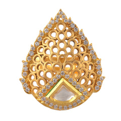 Traditional Gold Plated Adjustable Ring With Cut Work And Zircons - StompMarket