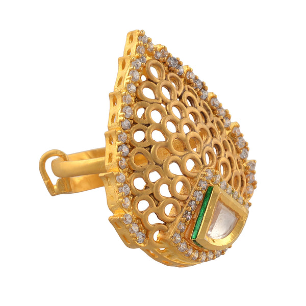 Traditional Gold Plated Adjustable Ring With Cut Work And Zircons