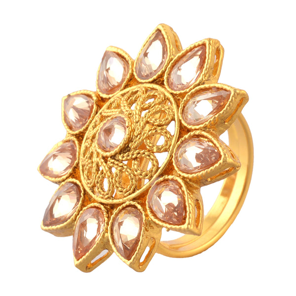 Traditional Gold Plated Adjustable Ring With Cut Work.