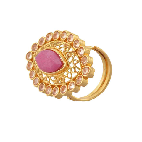 Traditional Gold Plated Adjustable Ring With Cut Work And Faux Ruby