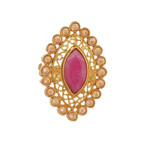 Traditional Gold Plated Adjustable Ring With Cut Work And Faux Ruby - StompMarket