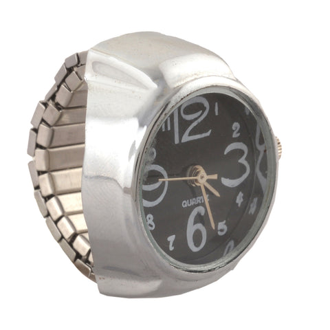Zephyrr Finger Ring Watch with Round Dial Stretchable Made of steel