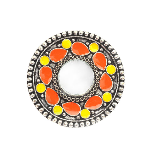 Zephyrr Fashion Adjustable Hand Painted Round Mirror Rings
