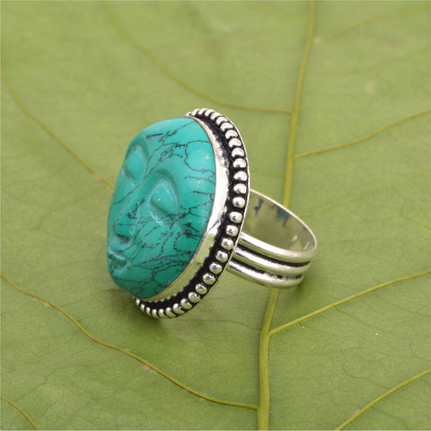 Zephyrr Fashion Man Made Carved Face Design Mud Stone German Silver Ring