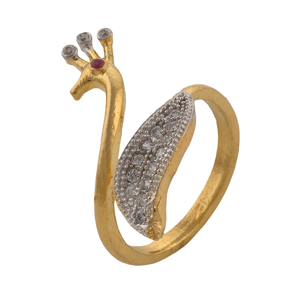 Fashion Peacock Adjustable Ring With American Diamonds For Women