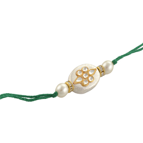 Fashion Beaded Rakhi Raksha Bandhan Kundan Pearls With Roli Chawal - StompMarket