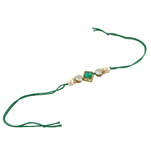 Fashion Beaded Rakhi Raksha Bandhan Zircons Pearls With Roli Chawal - StompMarket