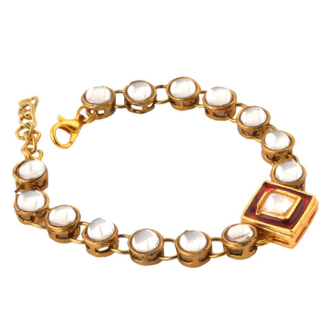 Fashion Handmade Free Size Bracelet With Kundan Meenakari For Women - StompMarket