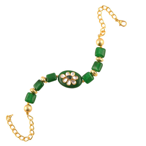 Fashion Handmade Free Size Bracelet With Kundan For Women