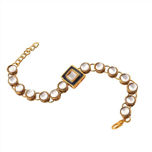 Fashion Handmade Free Size Bracelet With Kundan Meenakari For Women