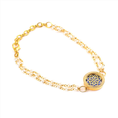Fashion Handmade Free Size Gold Tone Bracelet With Pearl Beads For Women - StompMarket