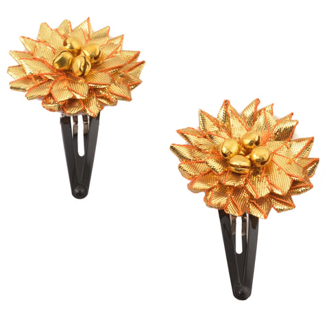 Kids Girls Handmade Ethnic Golden Flower Tic Tac / Hair Pin / Hair Clip Pair
