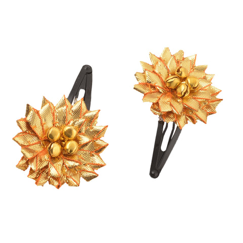 Kids Girls Handmade Ethnic Golden Flower Tic Tac / Hair Pin / Hair Clip Pair - StompMarket