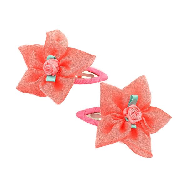 Kids Girls Handmade Rose Floral Tic Tac/Hair Pin/Hair Clip Pair