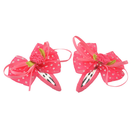 Kids Girls Handmade Floral Tic Tac/Hair Pin/Hair Clip Pair Ribbons