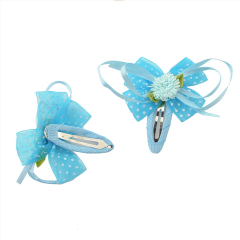 Kids Girls Handmade Floral Tic Tac/Hair Pin/Hair Clip Pair Ribbons - StompMarket